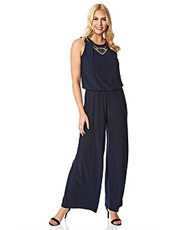 Roman Necklace Trim Jumpsuit