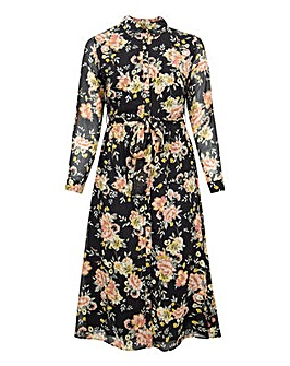 Koko Dark Florals Button Up Maxi Dress