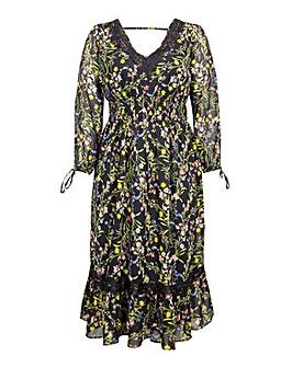 Koko Wildflower Lace Midi Dress