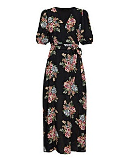 Yumi Curves Rose Print Maxi Dress