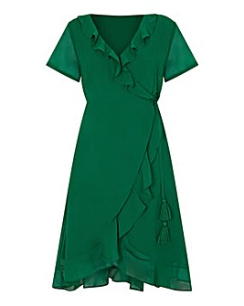 Yumi Curves Frill Wrap Dress With Tassel Detail
