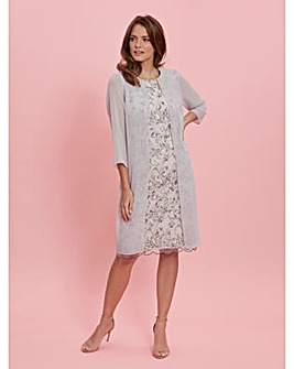 Gina Bacconi Leora Lace Chiffon Dress