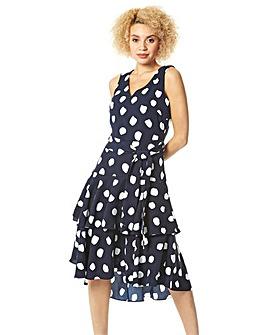 Roman Spot Frill Tiered Belted Dress