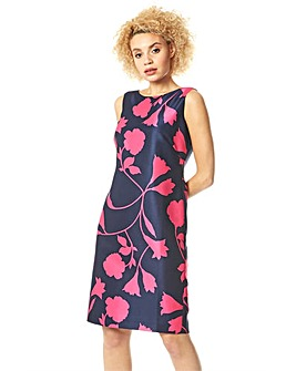 Roman Floral Print Sleeveless Shift Dress