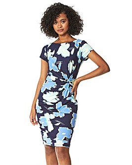 Roman Floral Print Side Twist Dress