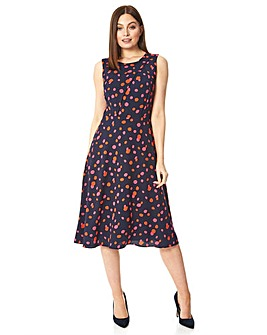 Roman Polka Dot Fit and Flare Dress