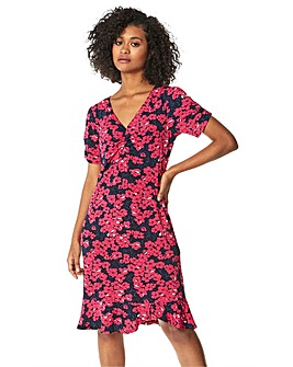 Roman Floral Print Frill Hem Tea Dress