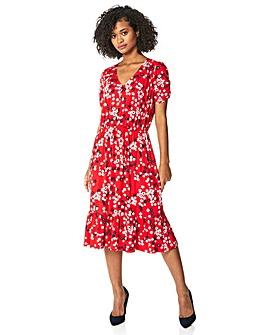 Roman Floral Print Tiered Midi Dress