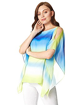 Roman Ombre Cold Shoulder Overlay Top
