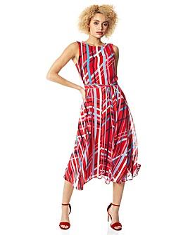 Roman Stripe Print Fit and Flare Midi Dress