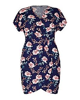 Mela London Curve Floral Wrap Effect Dress