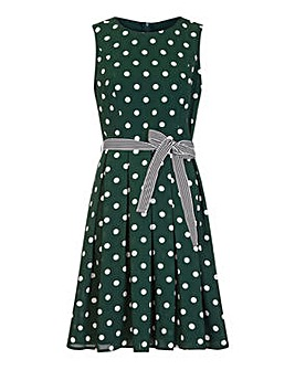 Yumi Curves Spot Print Dress With Contrast Belt