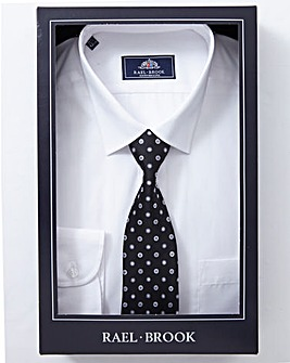 Rael Brook White Boxed Long Sleeve Shirt And Tie Set Regular