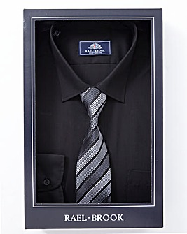 Rael Brook Black Boxed Long Sleeve Shirt And Tie Set Regular