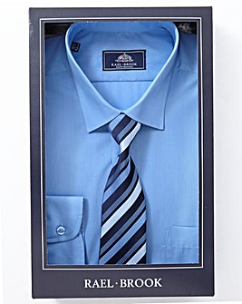 Rael Brook Pale Blue Boxed Long Sleeve Shirt And Tie Set Regular