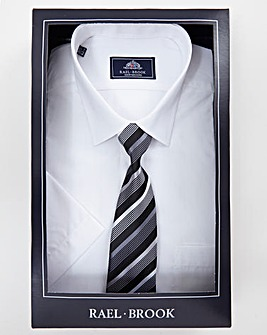 Rael Brook White Boxed Short Sleeve Shirt And Tie Set Regular