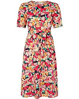 Monsoon Verna Print Linen Dress