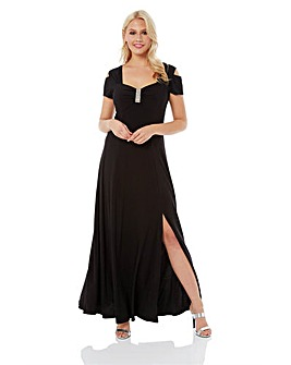 Roman Diamante Cold Shoulder Maxi Dress