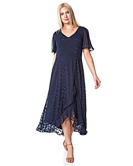 Roman Spot Frill Asymmetric Midi Dress