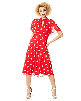 Roman High Neck Spot Midi Dress