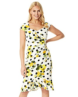 Roman Floral Spot Fluted Fitted Scuba Dress