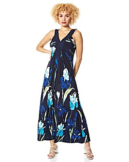 Roman Floral Contrast Band Maxi Dress