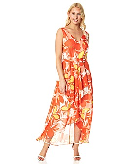Roman Floral Chiffon Wrap Midi Dress