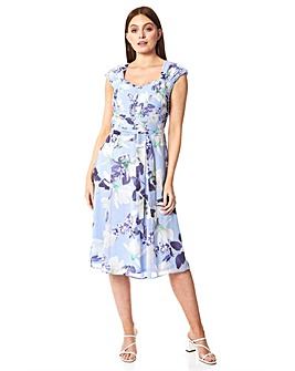 Roman Floral Fit and Flare Belted Dress