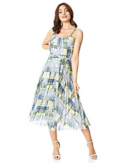 Roman Check Print Pleated Midi Dress