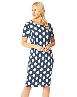 Roman Polka Dot Print Shift Dress