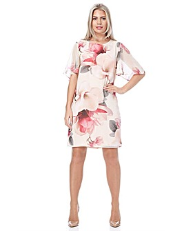 Roman Floral Angel Sleeve Chiffon Dress