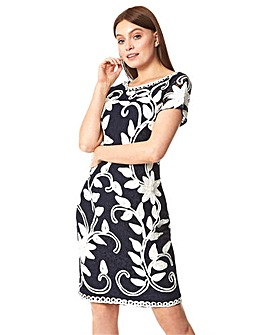 Roman Floral Contrast Tapework Dress
