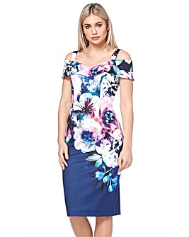 Roman Floral Cold Shoulder Scuba Dress