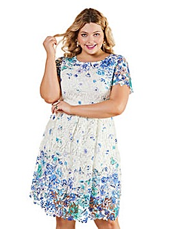 Yumi Curves Guipure Printed Butterfly Lace Dress
