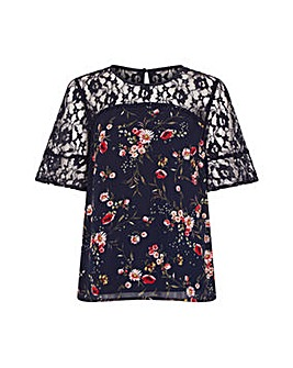 Yumi Curves Navy Daisy Print Lace Top