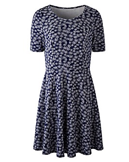 Navy/ Ivory Jacquard Skater Dress