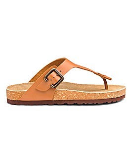 Leather Footbed Toe Post Sandals EEE Fit