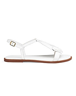 Leather Fringe Detail Sandals Extra Wide EEE Fit