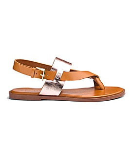 Leather Toe Post Sandals Wide E Fit