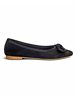 Premium Suede Flat Shoes With Bow Detail Wide E Fit