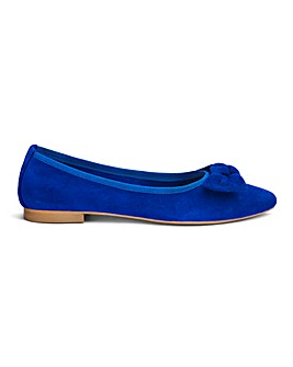 Premium Suede Flat Shoes With Bow Detail Extra Wide EEE Fit