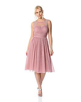 Roman Bead Embellished Knee Length Dress