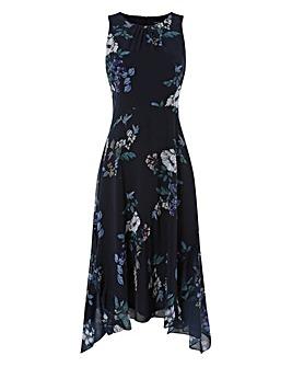 Roman Floral Hanky Hem Ruffle Dress