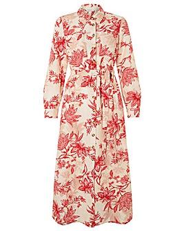 Monsoon Alyssa Print Linen Shirt Dress