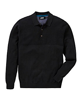 Black Panel Knit Polo L