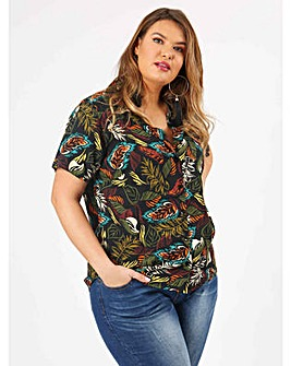 Koko Tropical Print Revere Collar Shirt