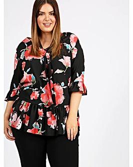 8149d83031171 Lovedrobe GB Black Floral Frill Blouse