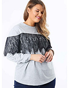 Koko Grey Jumper with Lace Overlay