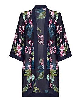 Mela London Curve Tropical Print Kimono