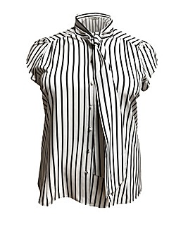 emily Brittany Pussy Bow Stripe Blouse